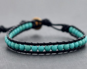 Turquoise Leather Beaded Bracelet