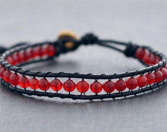 Cherry Red Leather Beaded Bracelet