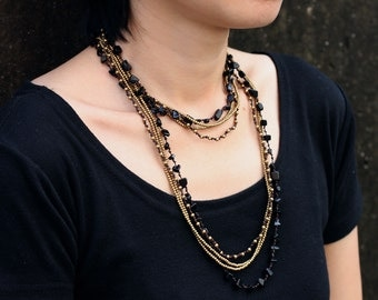 Black Onyx Stone Layer Wrap Necklace