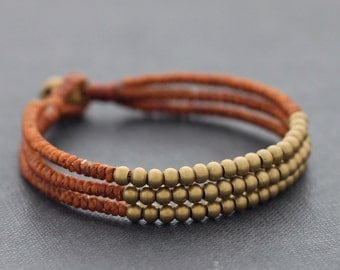 Rust Brown 3 Strand Beaded Bracelet