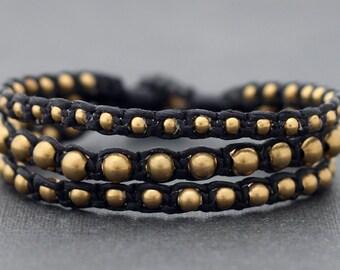 Rocker Brass Beaded Bracelet