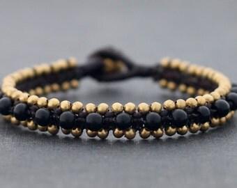 Black Onyx Beaded Cuff Bracelet