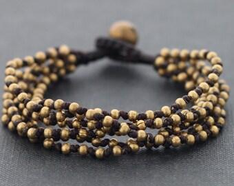 Knotted Bunch 6 Strand Brass Bracelet