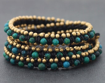 Chrysocolla Brass Beaded Wrap Bracelet