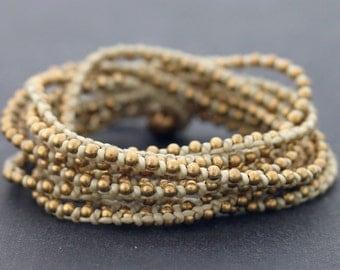 Muslin Brass Wrap Beaded Bracelet