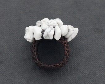 Howlite Knitted Ring