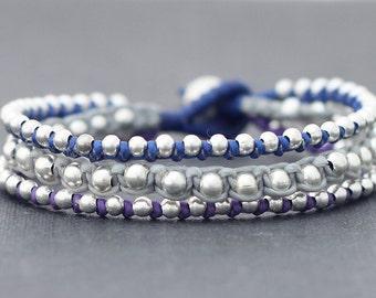 Blue Tone Rocker Silver Beaded Bracelet