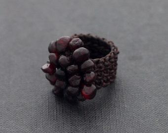 Garnet Knitted Ring