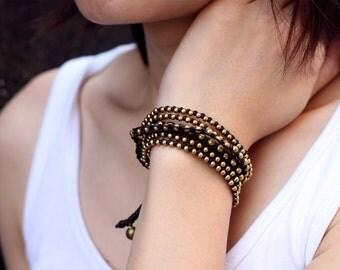 Brown Boho Rock Warp Brass Bracelet Necklace