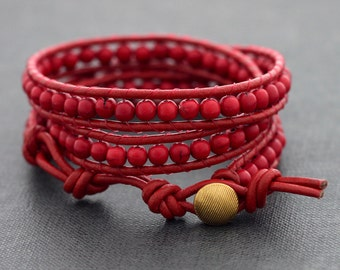 Totally Red Leather Wrap Bracelet