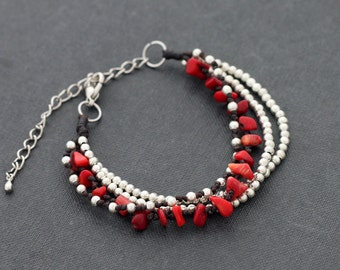 Coral Silver Chain Layer Bracelet Adjustable