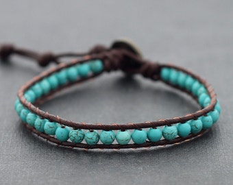 Turquoise Brown Leather Beaded Bracelet