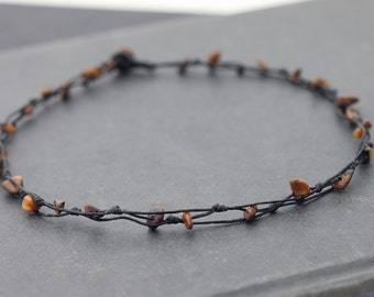Tiger Eye Knotted Short Necklace