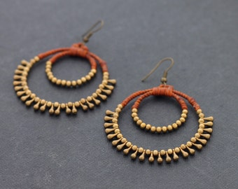 Rust Brown Chandelier Drop Earrings