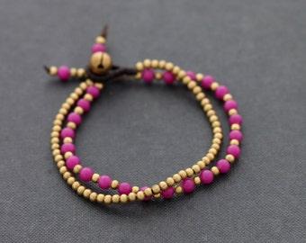 Fuchsia Pink Round Basic Bracelet
