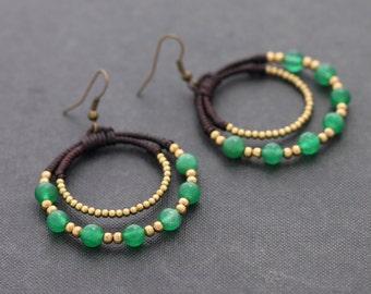 Jade Stone Beaded Circle Earrings