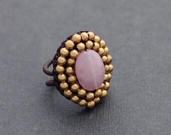 Rose Quartz Oval Beaded Ring
