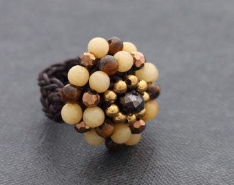 Champagne Knitted Cocktail Ring