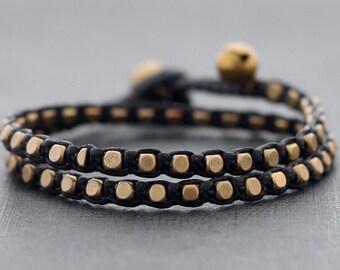 Black Brass Basic Double Wrap Bracelet