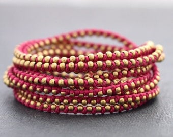 Shocking Pink Stud Wrap Bracelet Anklet Necklace