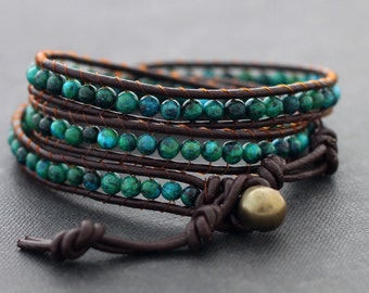 Chrysocolla Brown Leather Wrap Bracelet Beaded StoneStone Woven Stone Hipster