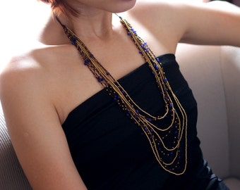 Layered Blue Jade Woven Necklace