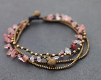 Pink Rose Quartz Layer Chain Anklet