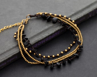 Black Onyx Chain Layer Anklet Free Size