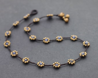 Bead Necklaces Woven Stone Sodalite Flower Daisy Folk Brass