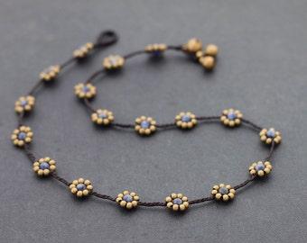 Sodalite Daisy Brass Beaded Necklace