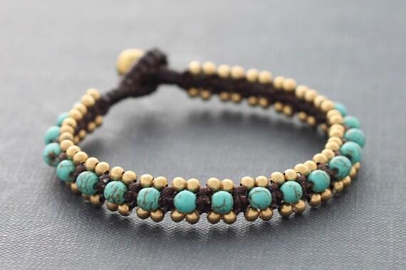 Turquoise Woven Bangle Bracelet