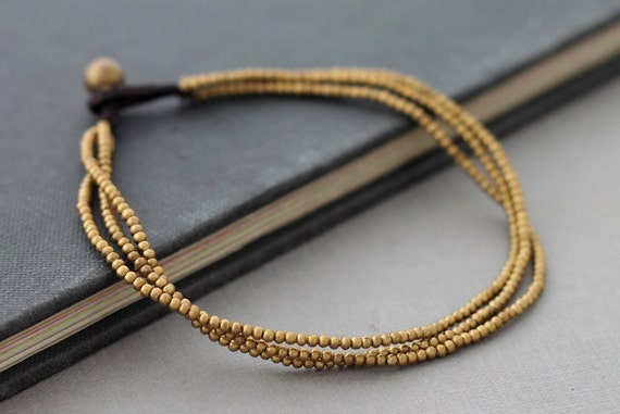 Simple Three Strand Brass Anklet