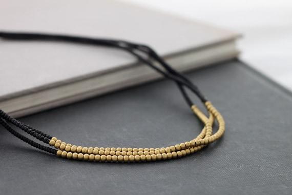 3 Strand Black Brass Necklace