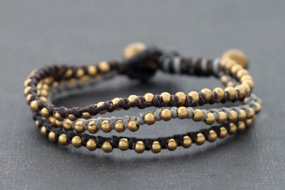 Monotone Grey 3 Strand Beaded Bracelet