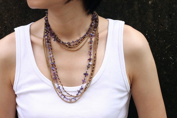 Amethyst Long Wrap Necklace