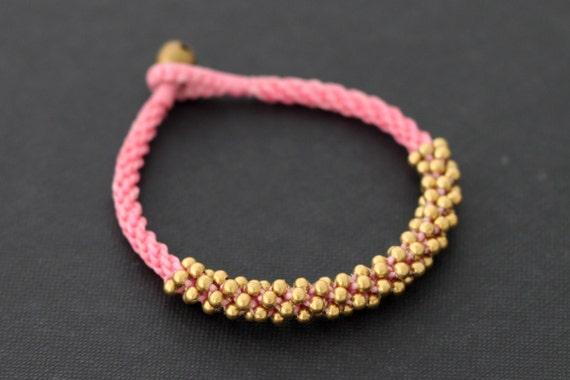 Pink Mala Brass Bracelet