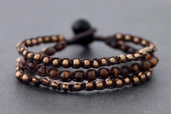 Tiger Eye Rose Gold Beaded Bracelet