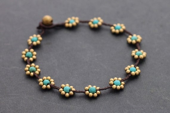 Daisy Turquoise Braided Anklet