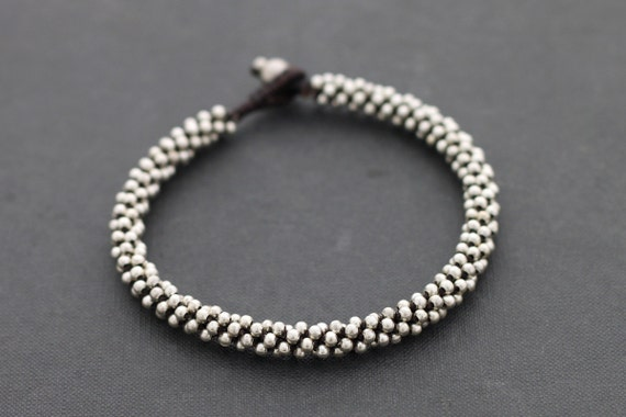 Silver Bead Weaving Anklet