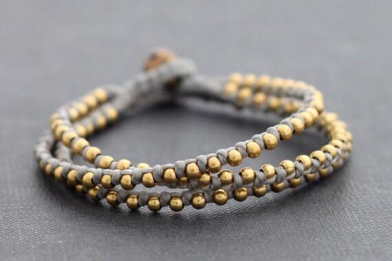 Grey Brass Stud Bracelet