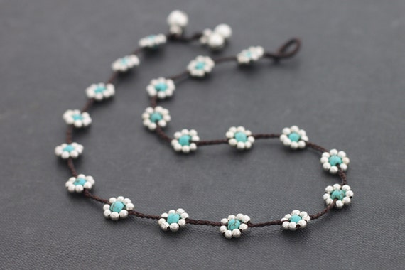 Daisy Turquoise Silver Necklace