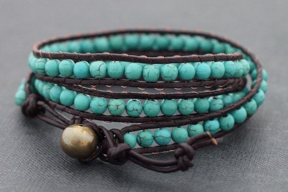 Leather Wrap Beaded Turquoise Bracelet