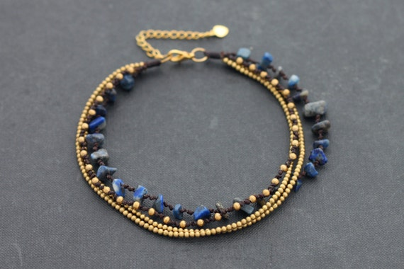 FREE SIZE Lapis Chain Layer Anklet