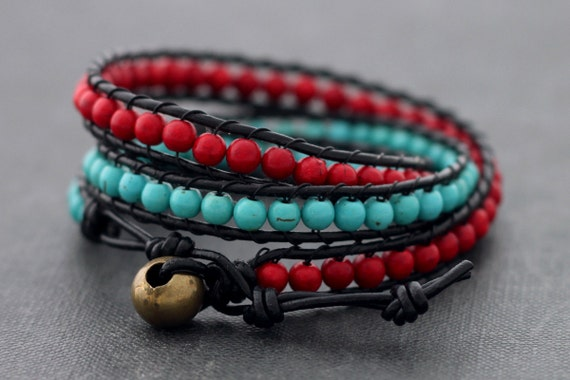 Fire And Ice Leather Wrap Bracelet