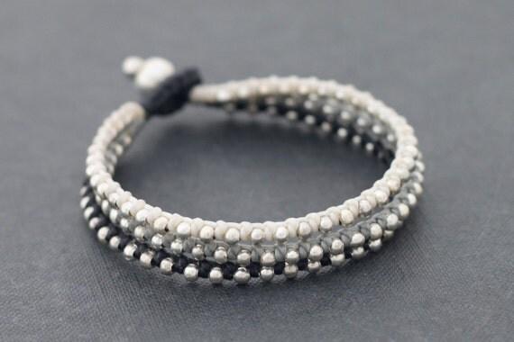 Neutral Silver Stud Bracelet