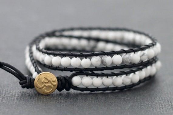 Howlite Double Wrap Beaded Bracelet