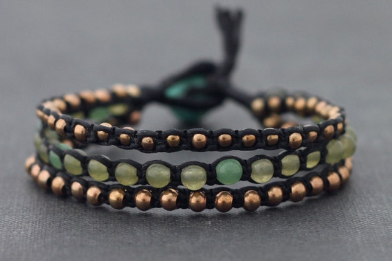 Jade Rose Gold Black Cord Bracelet