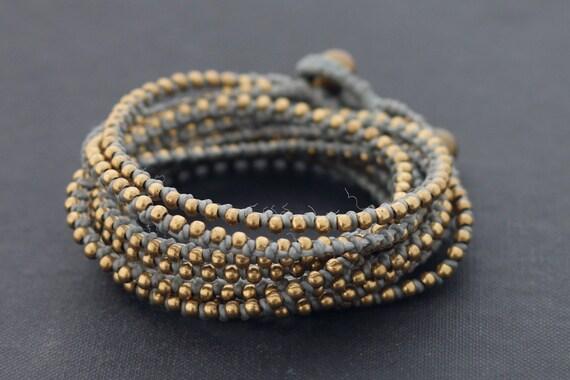 Grey Beaded Wrap Bracelet