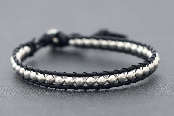 Leather Silver Beaded Bracelet