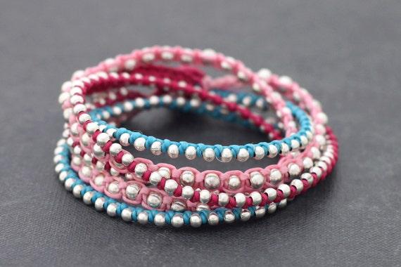 Berry Boho Rock Warp Silver Bracelet Necklace